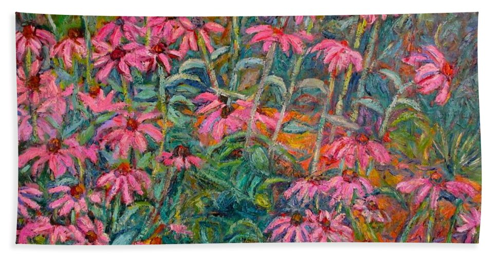 Kendall Kessler Beach Towel featuring the painting Coneflowers by Kendall Kessler