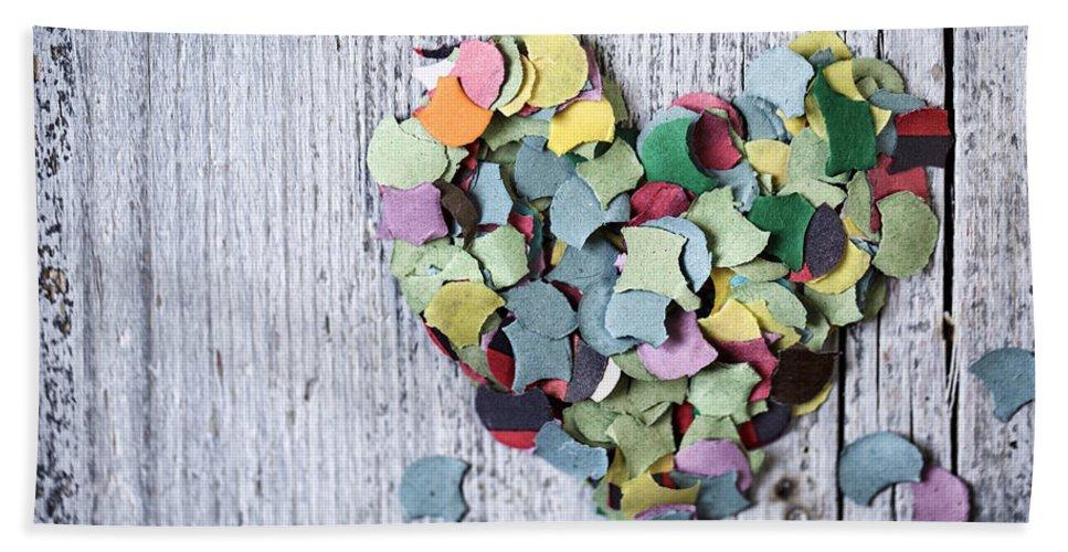Heart Beach Sheet featuring the photograph Confetti Heart by Nailia Schwarz