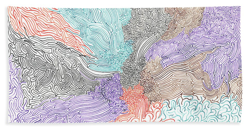 Mazes Beach Towel featuring the drawing Confluence by Steven Natanson