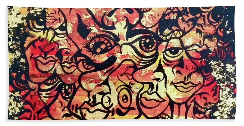 Orange Black Gold Inspired Interesting Color Art Paintings Paint Canvas Faces Eyes Ears Teath Lips Noses Expressions Happy Fun Beach Towel featuring the painting Confusion by Rafael Medina