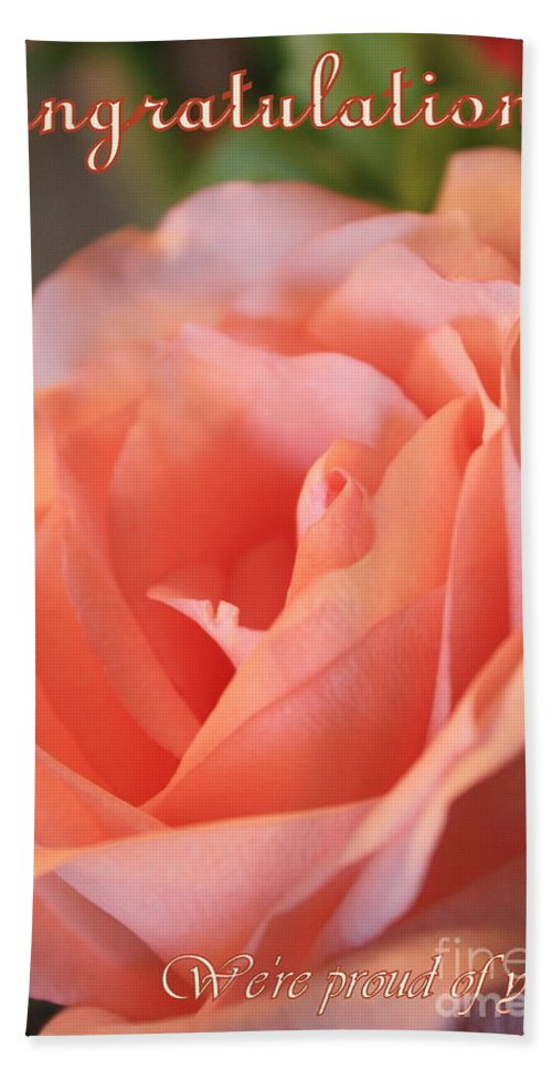 Congratulations Beach Towel featuring the photograph Congratulations Card For Girl Or Woman by Carol Groenen