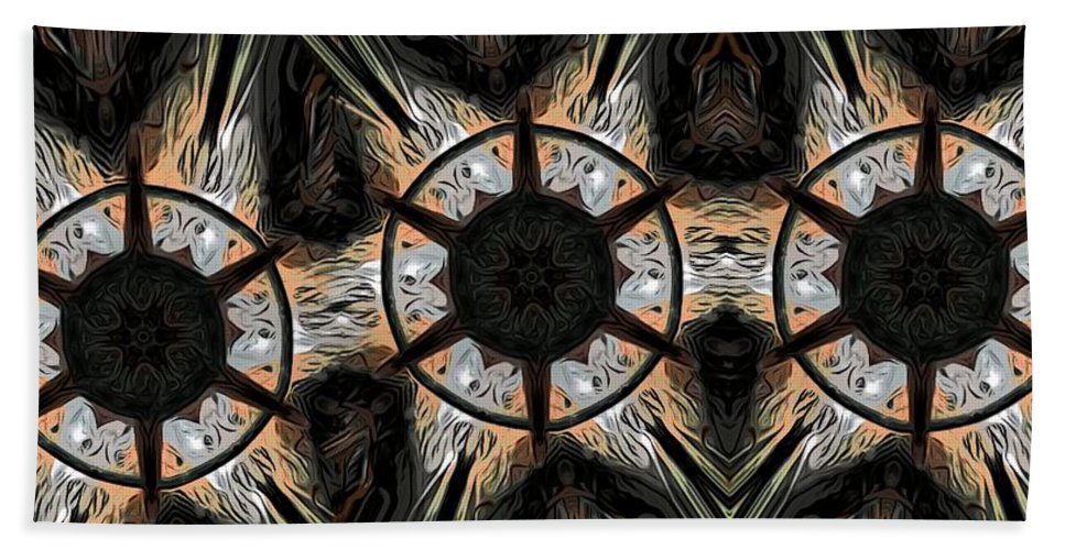 Abstract Beach Towel featuring the digital art Connections by Ron Bissett