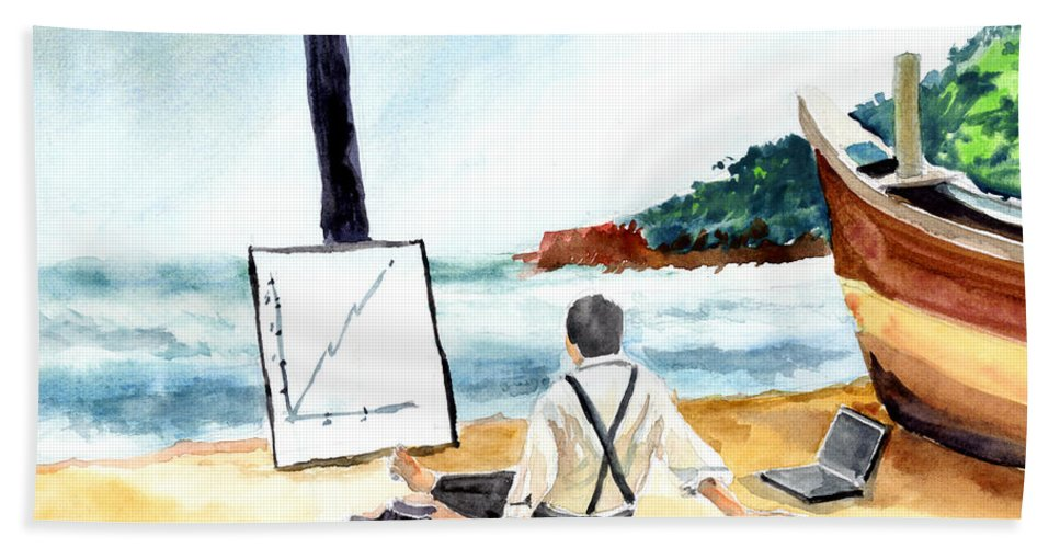 Landscape Beach Sheet featuring the painting Contemplation by Anil Nene