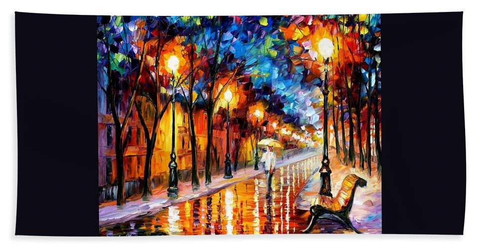 Afremov Beach Towel featuring the painting Contemplation by Leonid Afremov