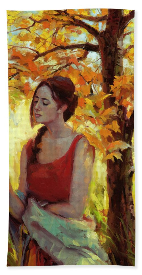 Woman Beach Towel featuring the painting Contemplation by Steve Henderson