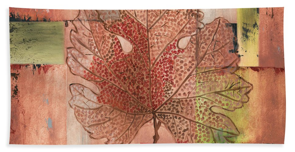 Contemporary Beach Towel featuring the painting Contemporary Grape Leaf by Debbie DeWitt