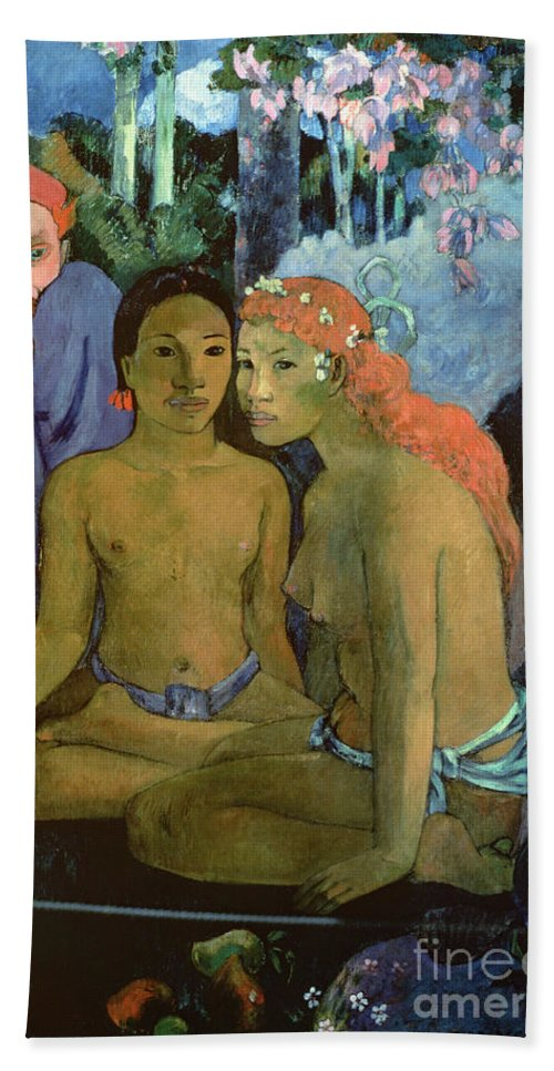 Contes Barbares Beach Towel featuring the painting Contes Barbares by Paul Gauguin