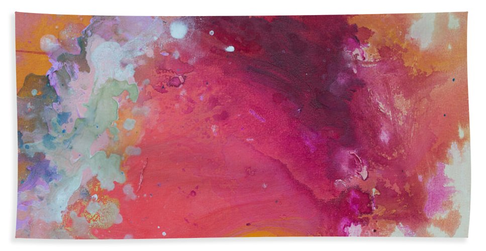 Abstract Beach Towel featuring the painting Controlled Chaos by Claire Desjardins