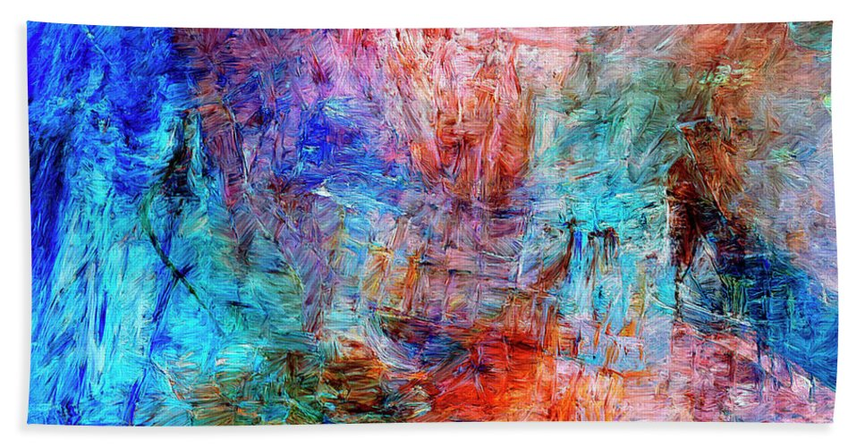 Abstract Beach Towel featuring the painting Convergence by Dominic Piperata