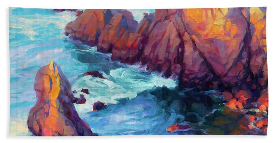 Ocean Beach Towel featuring the painting Convergence by Steve Henderson