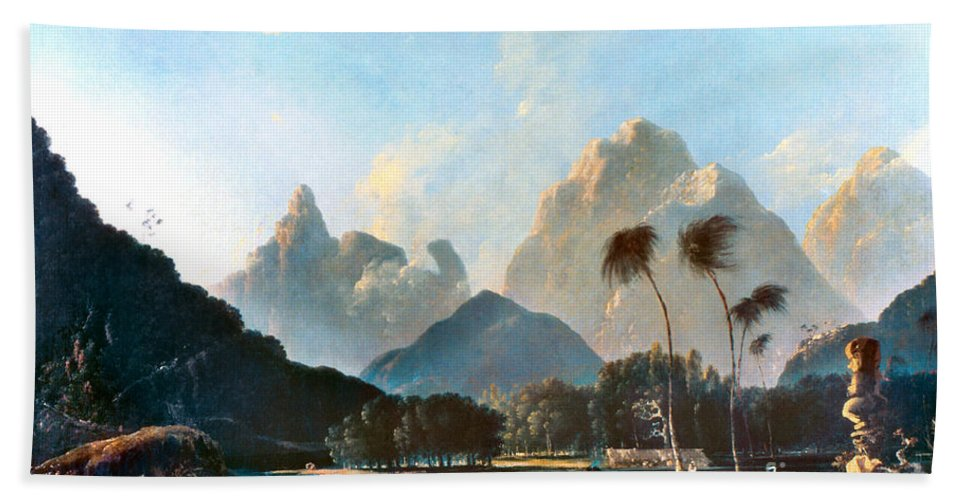1773 Beach Towel featuring the painting Cook: Tahiti, 1773 by Granger
