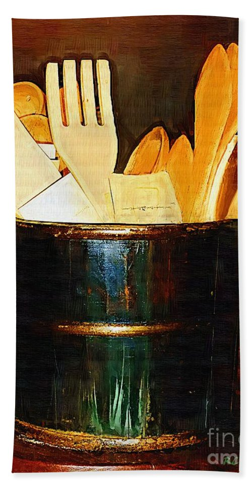 Bucket Beach Towel featuring the painting Cooking Retro by RC DeWinter