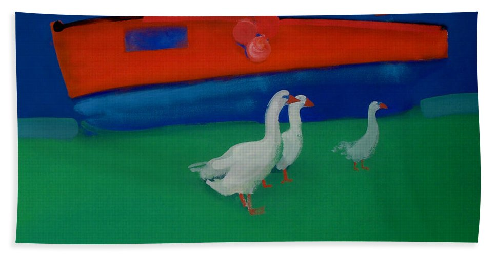 Geese Beach Towel featuring the painting Cool And Dry by Charles Stuart