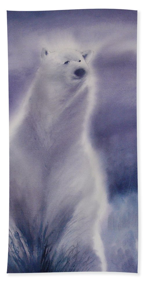 Bear Beach Sheet featuring the painting Cool Bear by Allison Ashton
