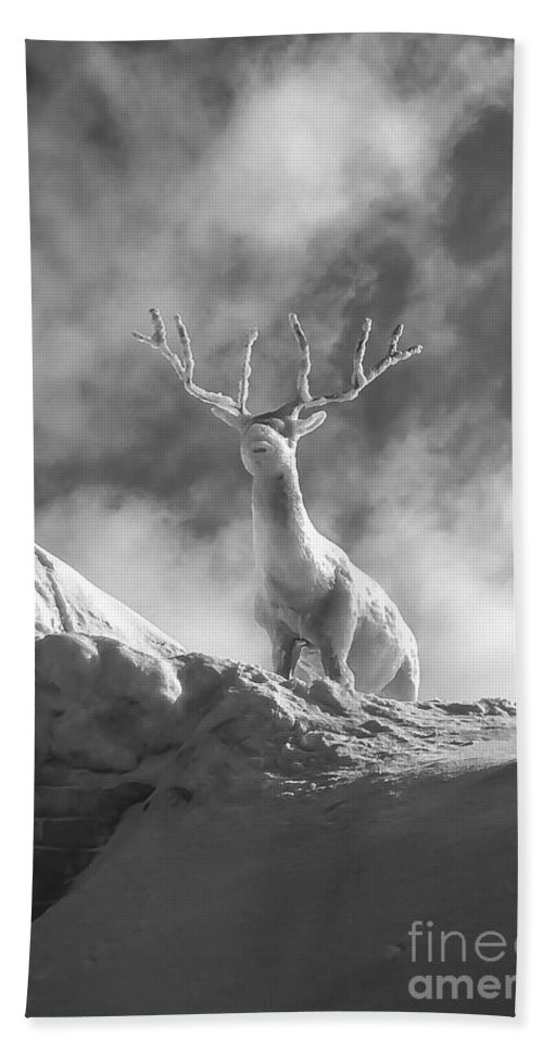 Ice Festival Sapporo Japan Carving Carvings Snow Snowscape Snowscapes Deer Animal Animals Sculpture Sculptures Black And White Odds And Ends Festivals Beach Towel featuring the photograph Cool Deer 2 by Bob Phillips