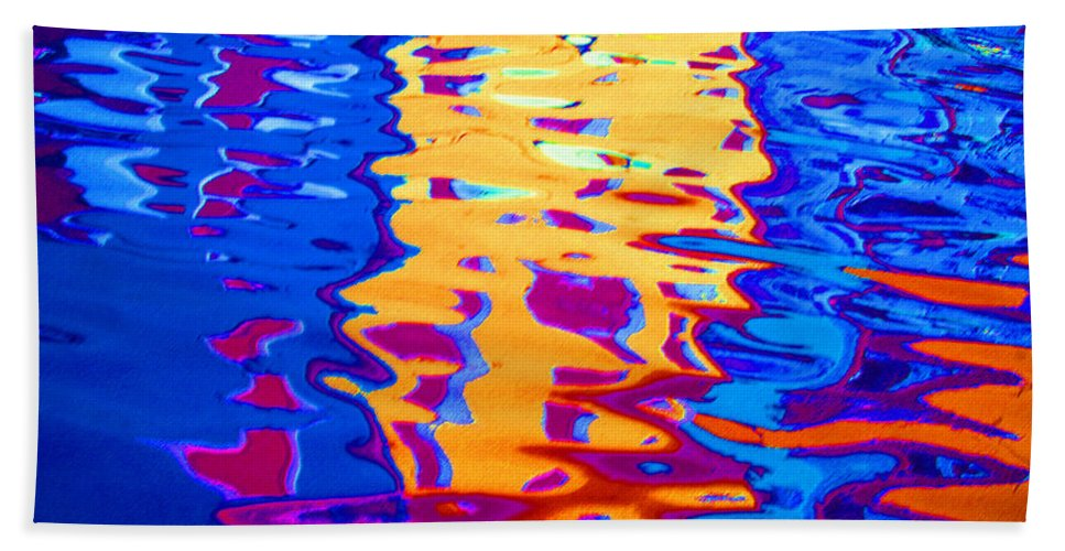 Abstract Beach Towel featuring the pastel Cool Meets Warm by Donna Corless