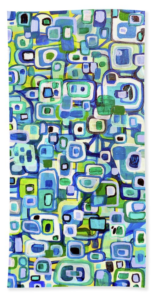 Shapes Beach Towel featuring the painting Cool Squares And Shapes by Larry Calabrese