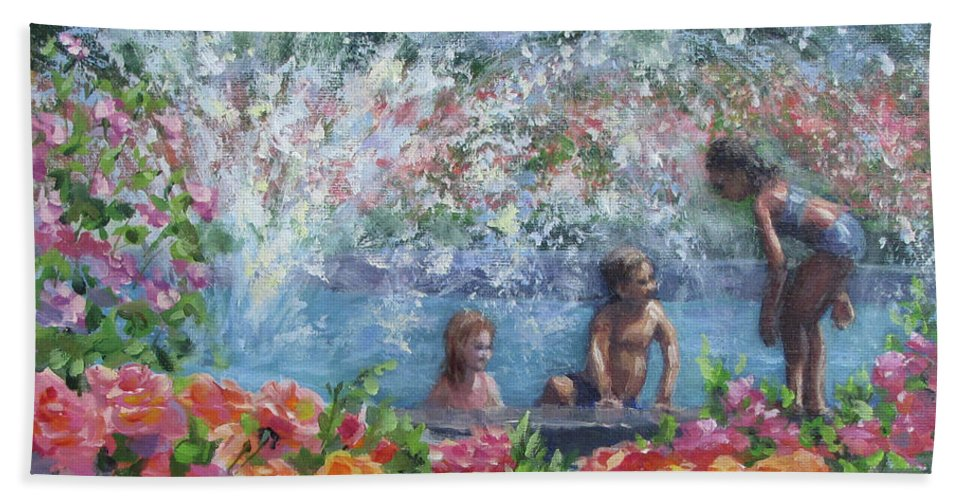 Floral Beach Towel featuring the painting Cooling Off by Karen Ilari