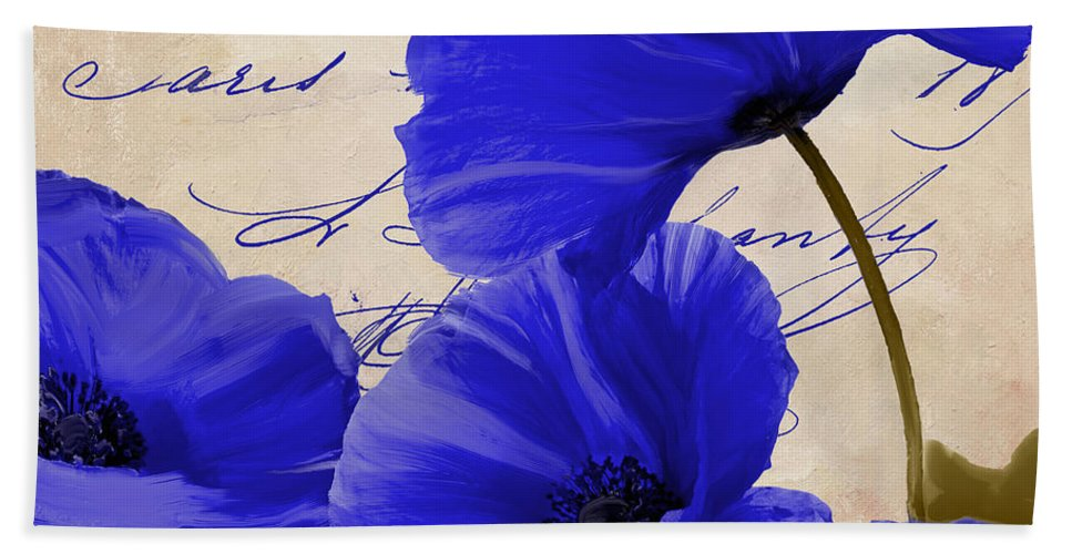 Poppies Beach Towel featuring the painting Coquelicots Bleue by Mindy Sommers