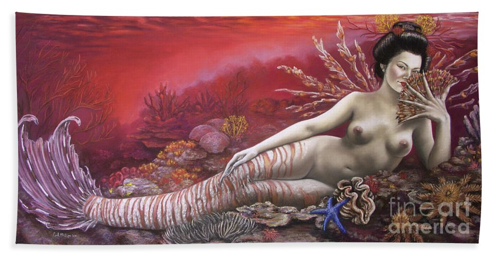 Fantasy Beach Towel featuring the pastel Coral 8thin The Vintage Mermaids Series by Carol Phillips