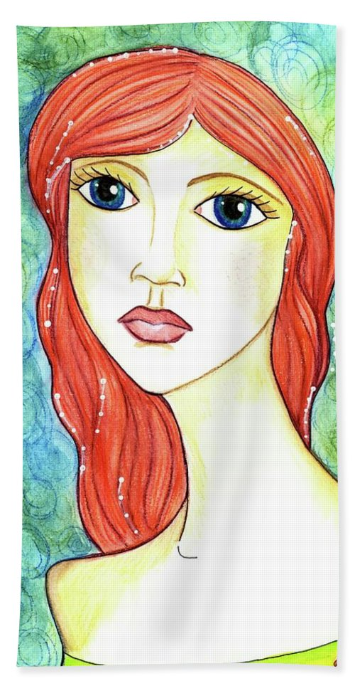 Mermaid Beach Towel featuring the painting Coralia, The Mermaid by Sarena Mantz