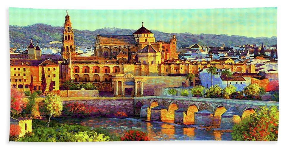 Spain Beach Towel featuring the painting Cordoba Mosque Cathedral Mezquita by Jane Small