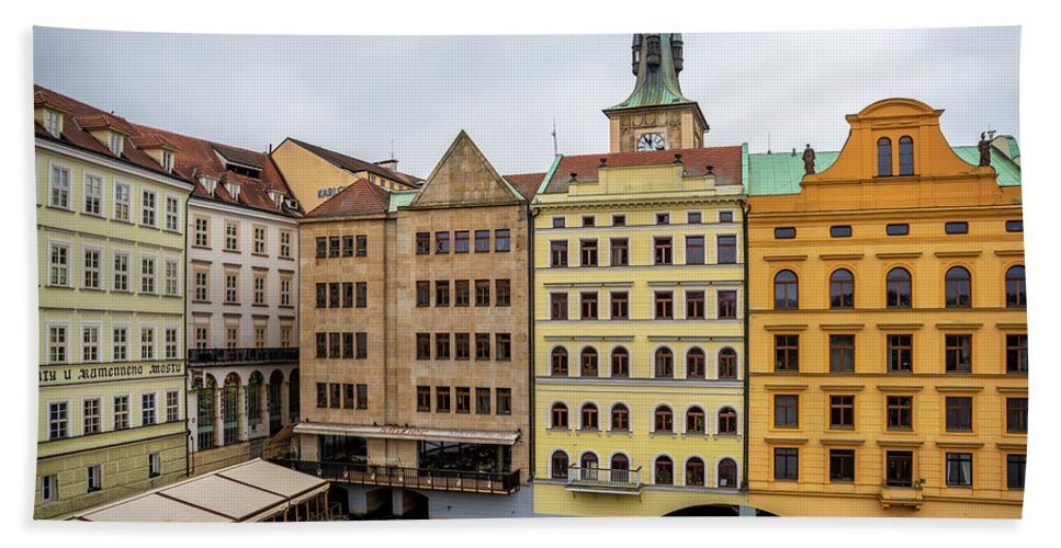 City Beach Towel featuring the photograph Corner Buildings In Prague by Svetlana Sewell