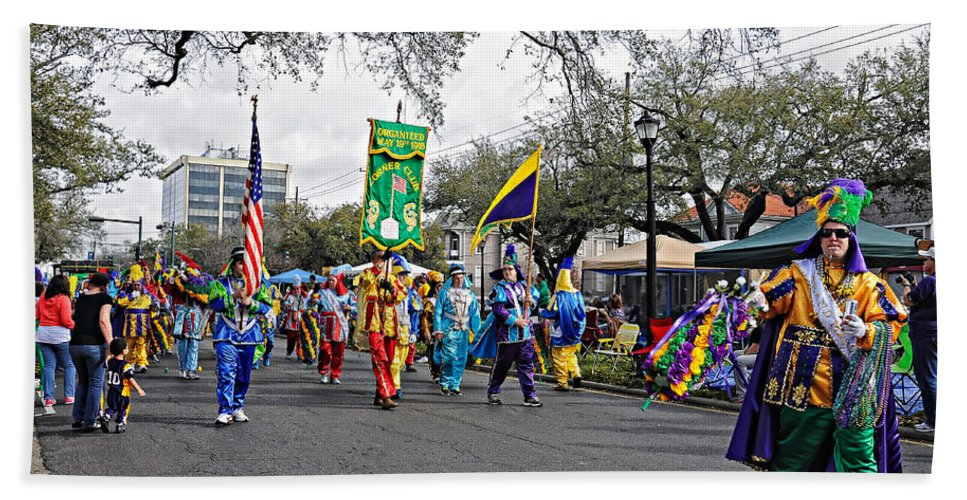 Mardi Gras Beach Towel featuring the photograph Corner Club 4 - Mardi Gras New Orleans by Kathleen K Parker