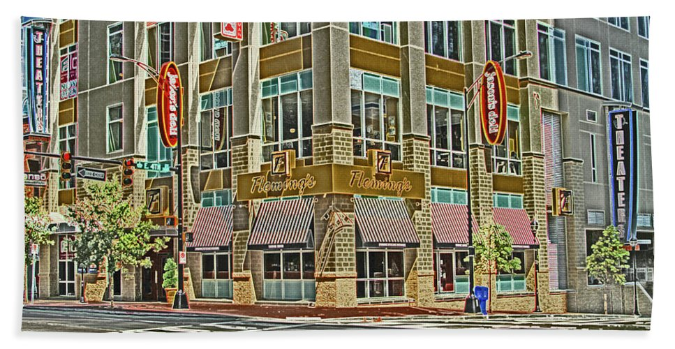 Corner Beach Towel featuring the photograph Corner Of 4th by Karol Livote