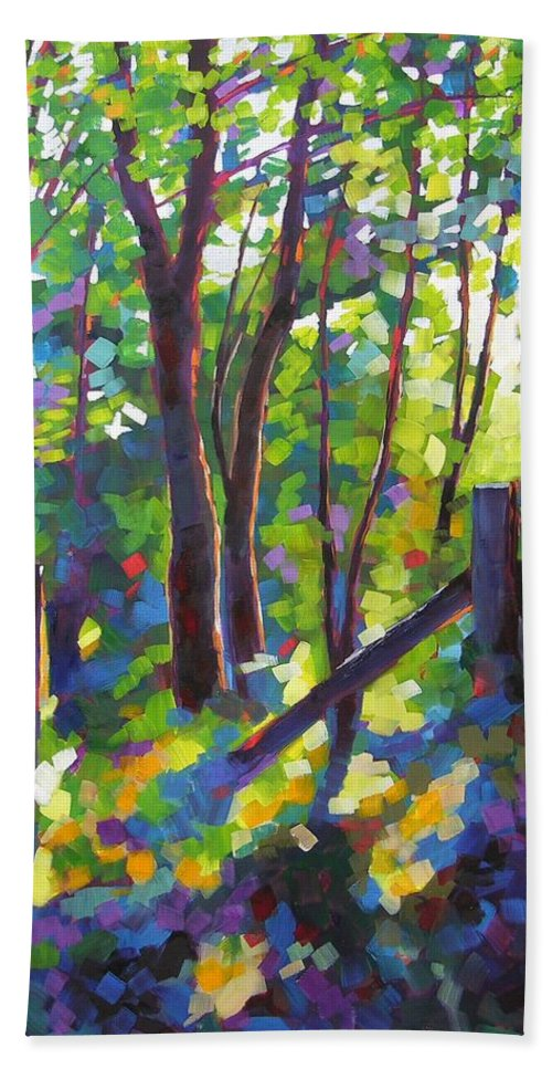 Trees Beach Towel featuring the painting Corner Post by Mary McInnis