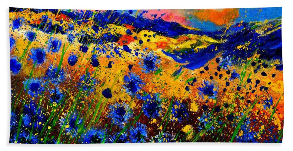 Beach Towel featuring the painting Cornflowers 746 by Pol Ledent
