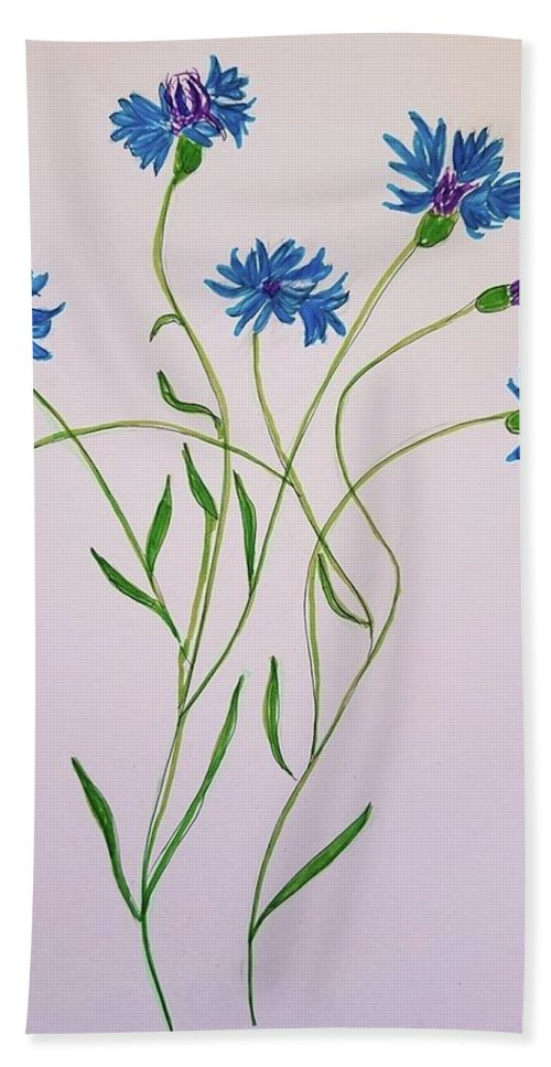 Beach Towel featuring the painting Cornflowers by Margaret Welsh Willowsilk