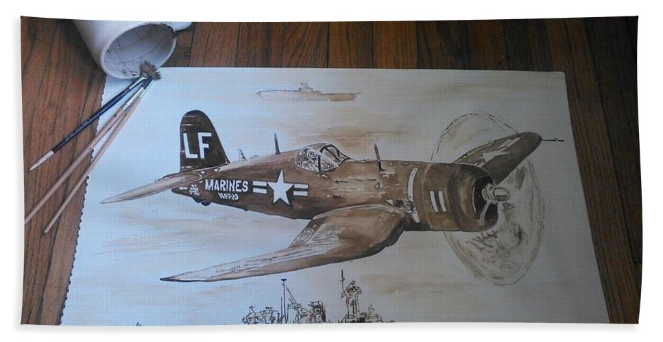 Marines Beach Towel featuring the painting Corsair by Nathanael Manzer