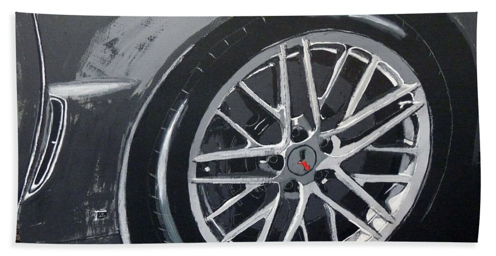 Corvette Beach Towel featuring the painting Corvette Wheel by Richard Le Page