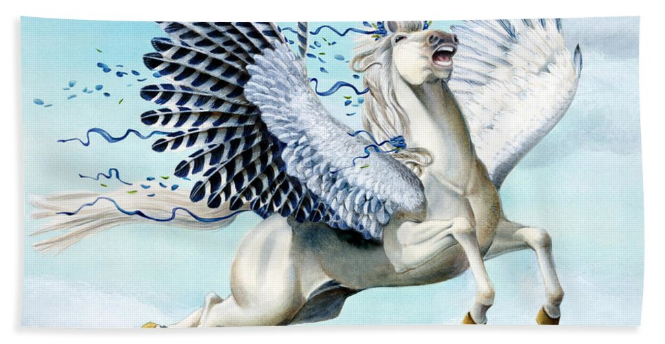 Artwork Beach Towel featuring the painting Cory Pegasus by Melissa A Benson