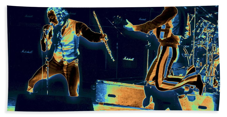 Jethro Tull Beach Towel featuring the photograph Cosmic Ian And Leaping Martin by Ben Upham