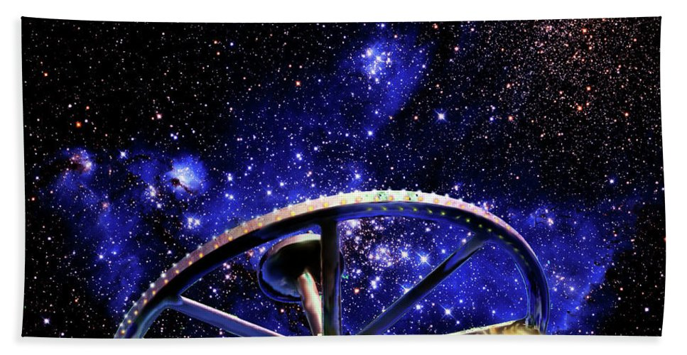 Bodie Beach Towel featuring the photograph Cosmic Wheel by Jim And Emily Bush
