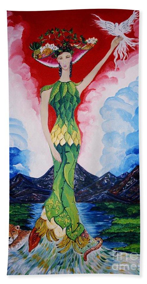 El Artista Refleja Sus Origenes: Esa Costa Rica Orgullosa De Su Gran Riqueza Beach Towel featuring the painting Costa Rica by David Alvarado