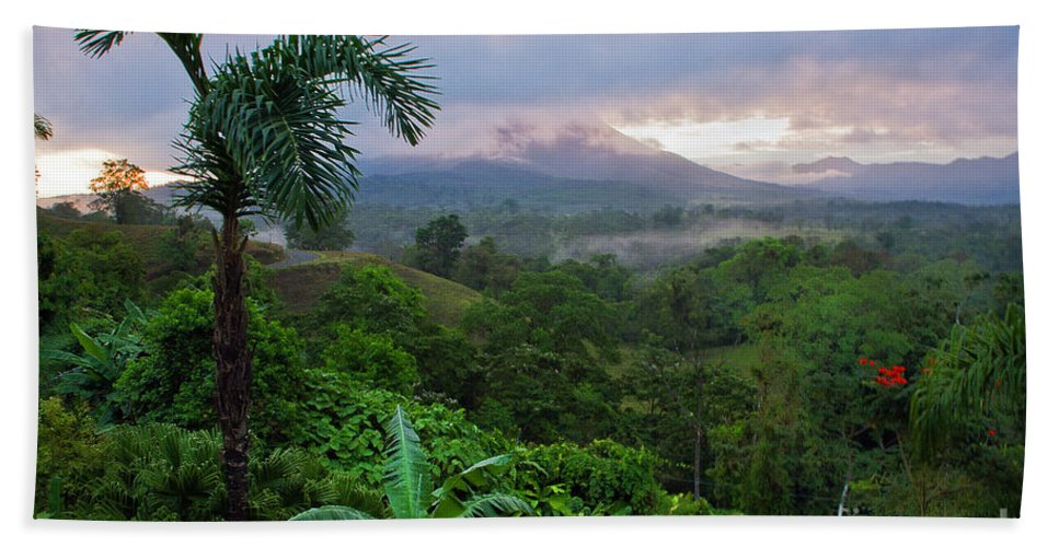 Costa Rica Beach Towel featuring the photograph Costa Rica Volcano View by Madeline Ellis