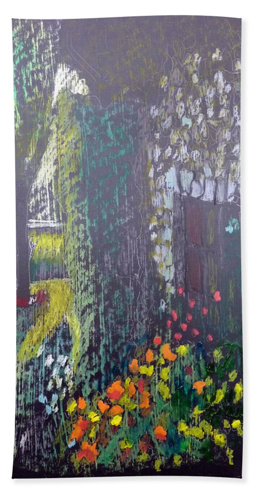 Cottage Beach Towel featuring the painting Cottage Flowers by Richard Le Page