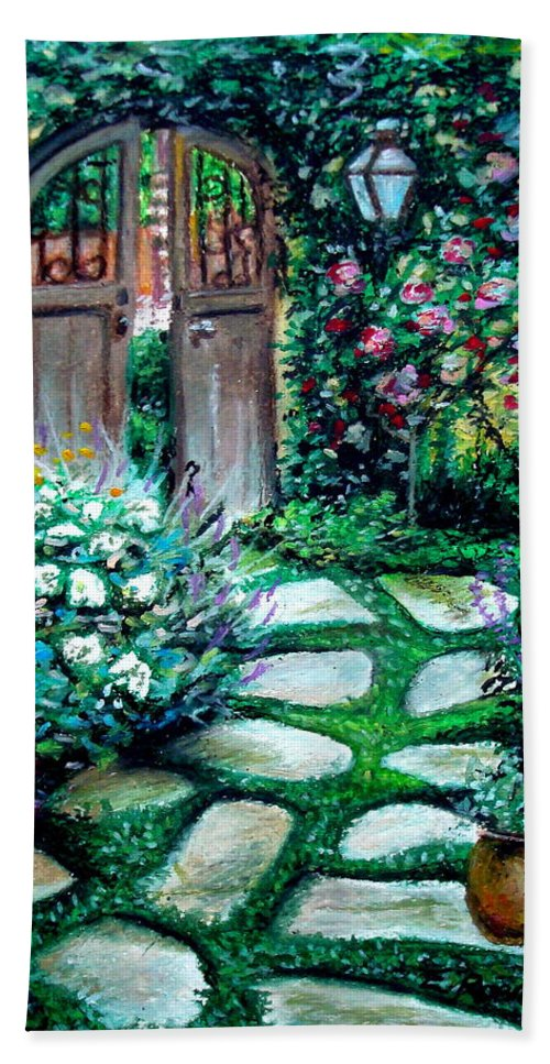Landscape Beach Towel featuring the pastel Cottage Gates by Elizabeth Robinette Tyndall