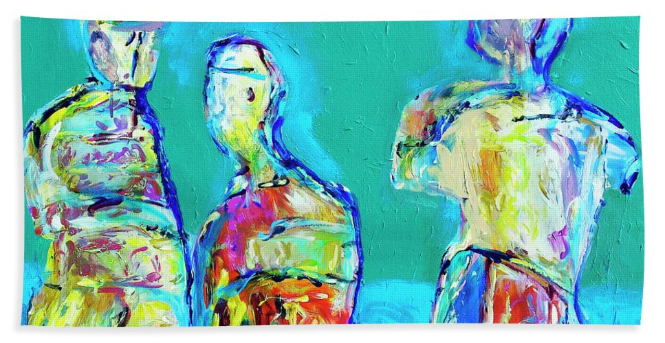 Abstract Beach Towel featuring the painting Council Of Elders by Dominic Piperata