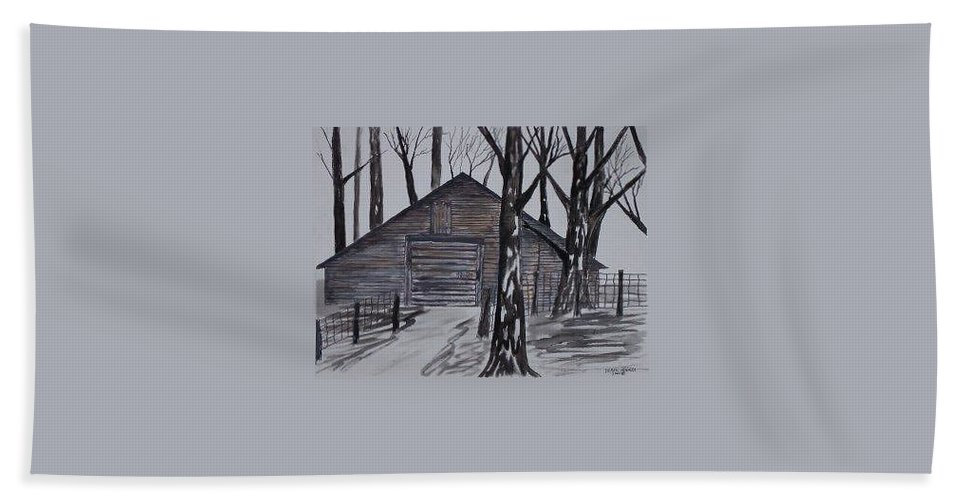 Watercolor Landscape Painting Barn Pen And Ink Drawing Print Original Beach Towel featuring the painting Country Barn Pen And Ink Drawing Print by Derek Mccrea