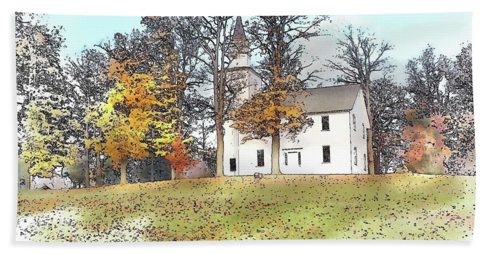 Landscape Beach Towel featuring the drawing Country Church by Bruce Arvon