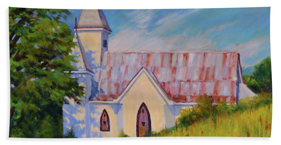 Impressionism Beach Sheet featuring the painting Country Church by Keith Burgess