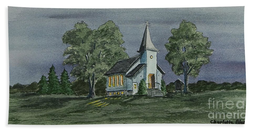 Country Church At Night Beach Towel featuring the painting Country Church On A Summer Night by Charlotte Blanchard
