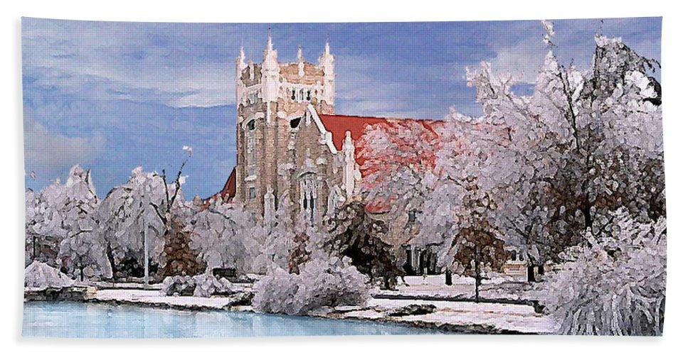 Winter Beach Sheet featuring the photograph Country Club Christian Church by Steve Karol
