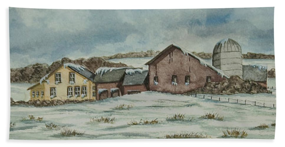Winter Scene Paintings Beach Towel featuring the painting Country Farm In Winter by Charlotte Blanchard