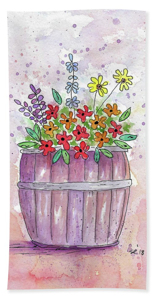 Watercolor And Ink Beach Towel featuring the painting Country Flowers by Susan Campbell
