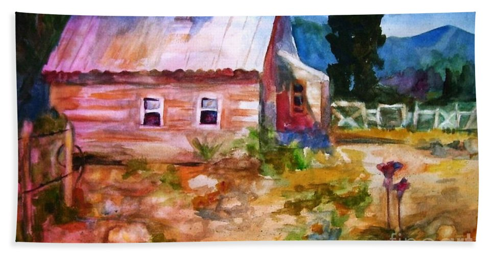 Cottage Beach Sheet featuring the painting Country House by Frances Marino